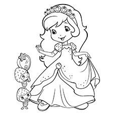 Strawberry and Little Girl Coloring Pages