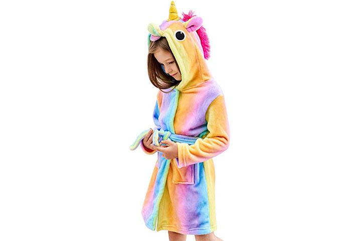Doctor Unicorn Soft Unicorn Hooded Bathrobe Sleepwear