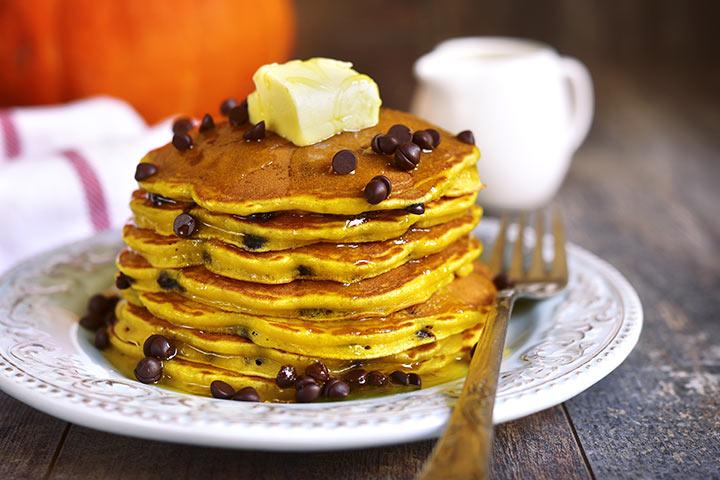 Choco chip pumpkin pancakes