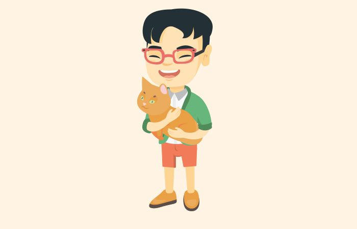 A man and a cat!