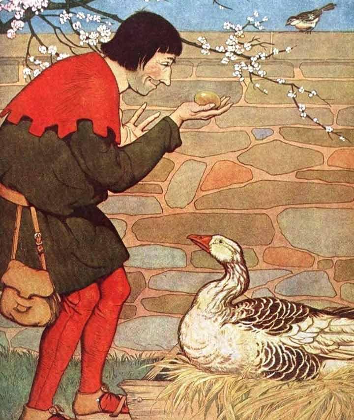 Golden egg laid duck