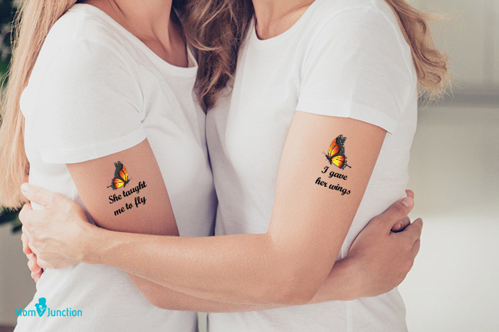 Butterfly tattoo for mother daughter bonding