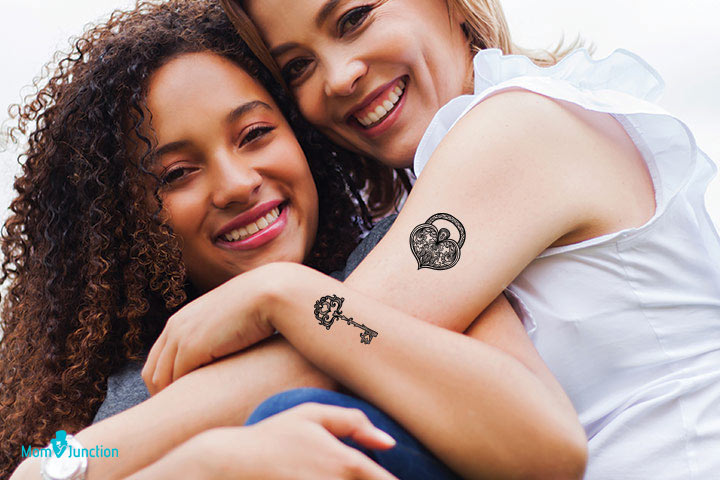 Mother Daughter Lock and Key Tattoo
