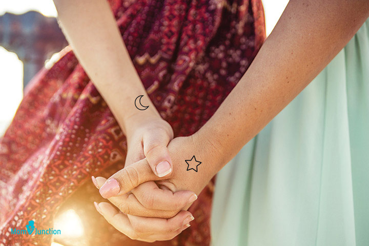 Moon and Star tattoo for mother daughter