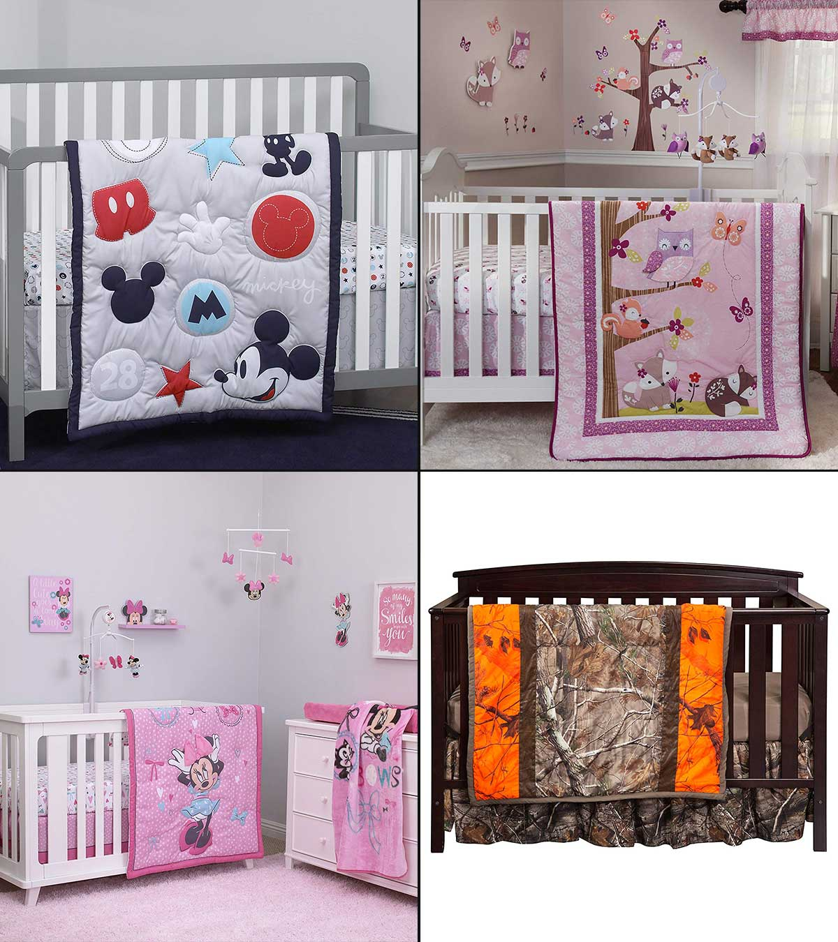 Pink Camo Crib Sheet REALTREE Nursery Baby Girl Bedding 3 Piece Set Quilt New