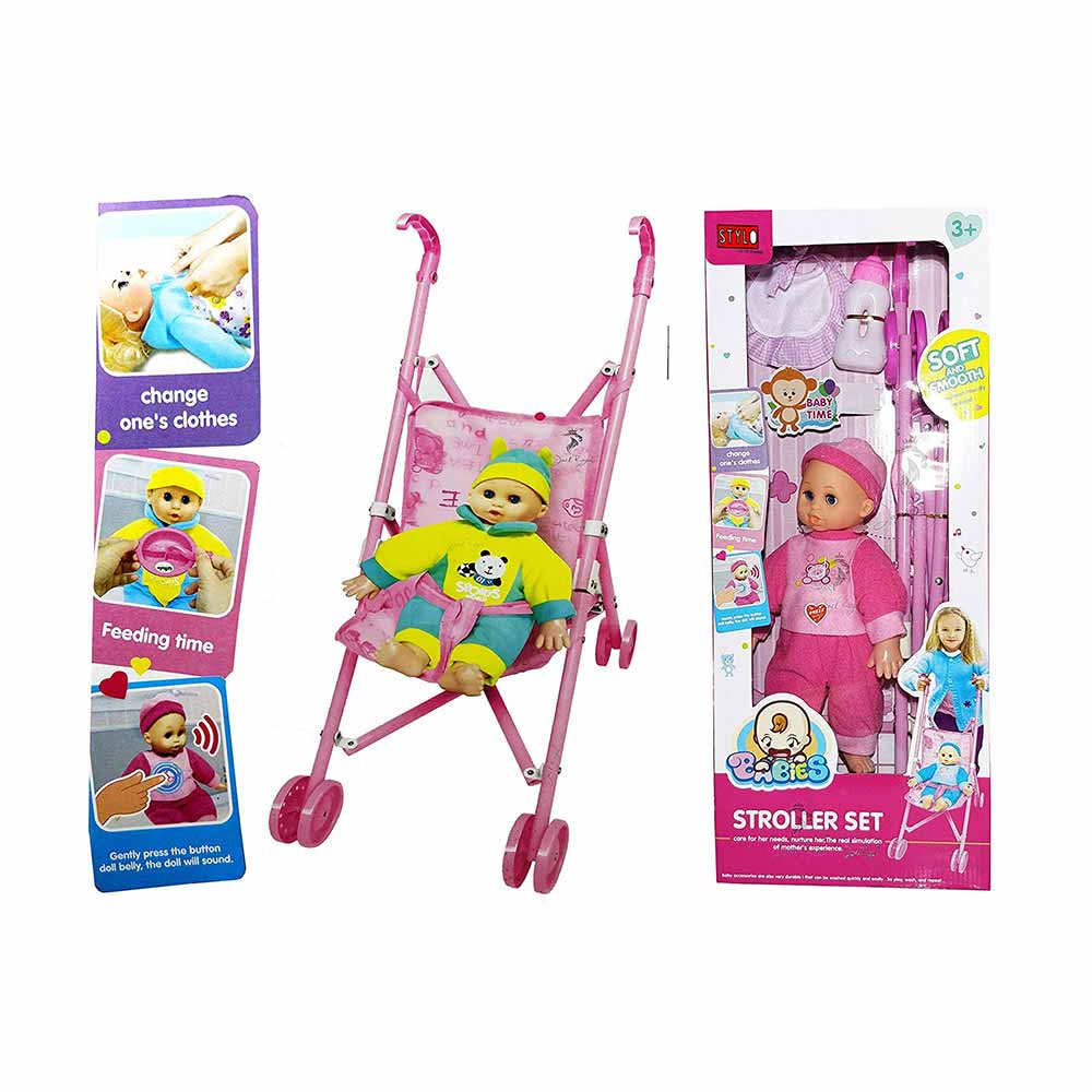 Jack Royal Infant Kids Carriage Stroller Trolley Nursery Toy Set