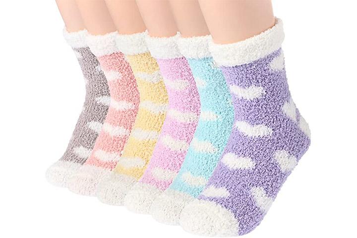 Plush Slipper Socks Women - Colorful