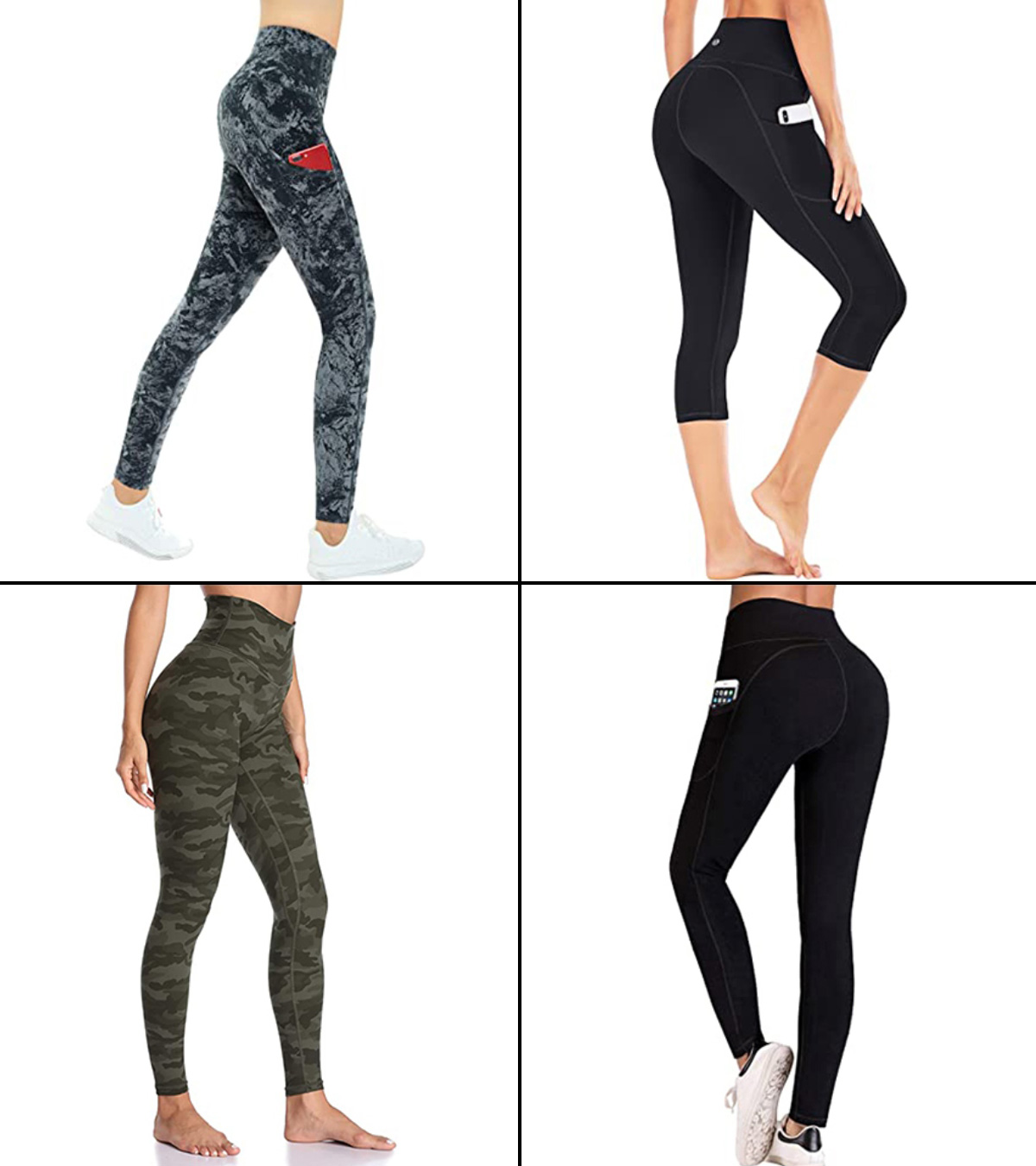 Tsmile Women Multi Pockets Cargo Pants High-Waist Sculpting Ultra Stretch Running Fitness Smoother Workout Yoga Pants