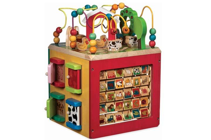 Battat Wooden Activity Cube For Babies