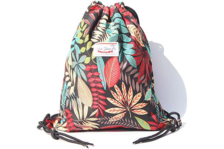 Alpaca Go Drawstring Bag Water Resistant Floral Leaf Lightweight