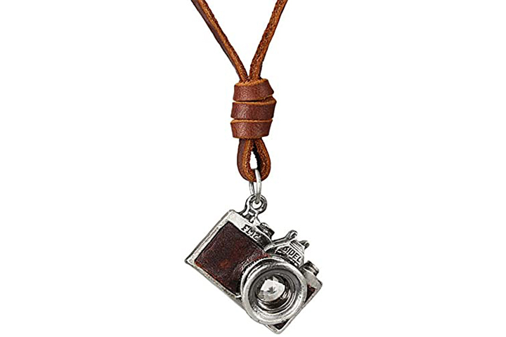 Coostuff Vintage Camera Pendant and Long Leather