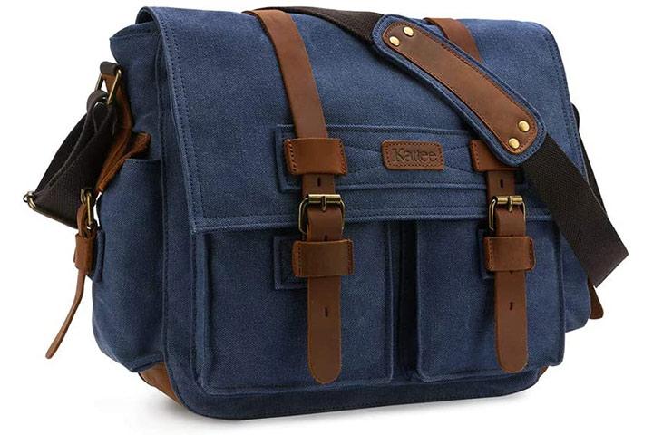 Kattee Leather Canvas Camera Shoulder Bag
