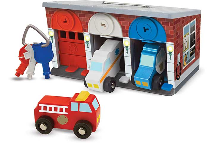 Melissa & Doug Keys & Cars Wooden Rescue Garage Toy