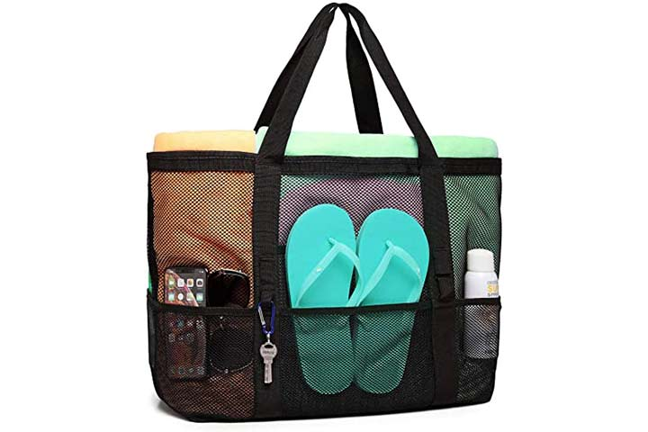 Mesh Beach Bag, F-color Oversized Beach Tote 9 Pockets