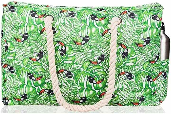 SHYLERO Beach Bag XL. Waterproof with Cotton Rope Handles