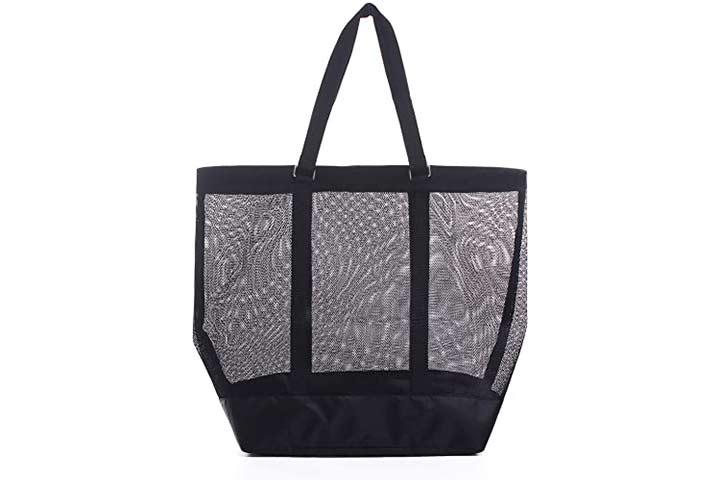 YS·AU Mesh Beach Bag, Women Tote Bag Stylish with Print