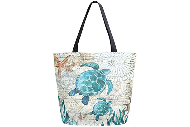 ZzWwR Chic Ocean Sea Turtles Starfish Map Print Beach Bag
