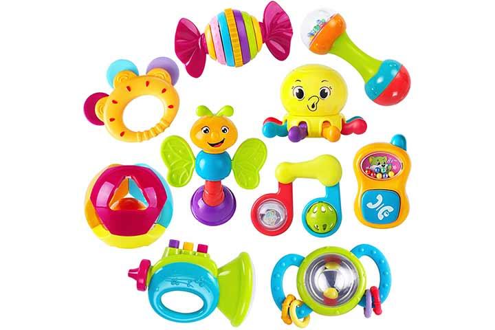 iPlay, iLearn 10pcs Baby Rattles and Teethers Set