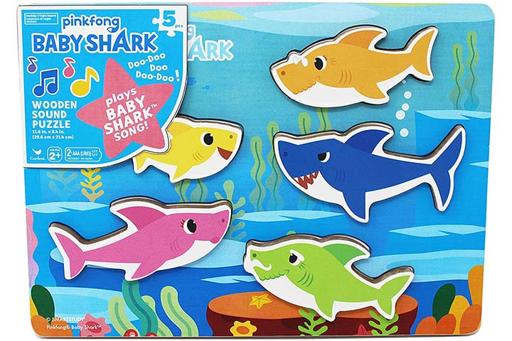 Cardinal Industries Pinkfong Baby Shark Chunky Wooden Sound Puzzle