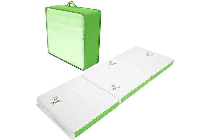 Cushy Form Tri-Fold Folding Mattress wStorage & Carry Case