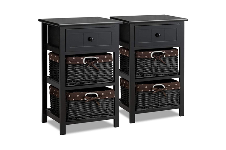 Giantex Nightstand with Drawers Wooden