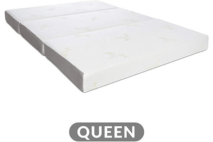 Milliard Tri Folding Memory Foam Mattress with Washable Cover Queen