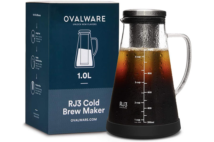 Ovalware Airtight Cold Brew Iced Coffee Maker And Tea Infuser With Spout