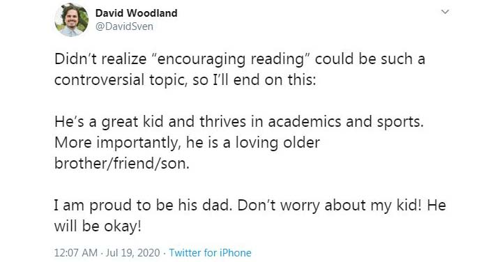 Woodland came back in another tweet and expressed that he did not imagine