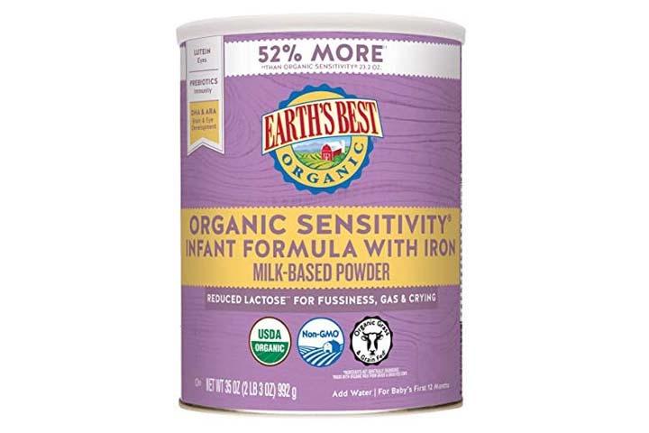 Earths Best Organic Low Lactose Sensitivity Infant Formula