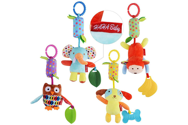 Haha Baby Soft Hanging Crinkle Squeaky Sensory Learning Toy