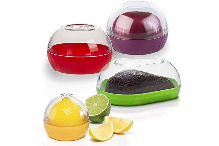 Happy Sales Onion, Tomato, Citrus, And Avocado Keeper Set