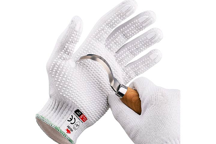 NoCry Cut Resistant Protective Work Gloves with Rubber Grip Dots