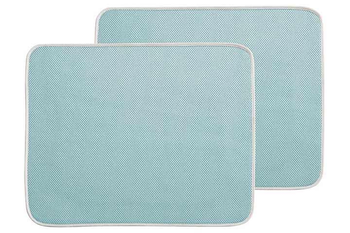 mDesign Reversible Microfiber Dish Drying Mat - Aqua BlueIvory