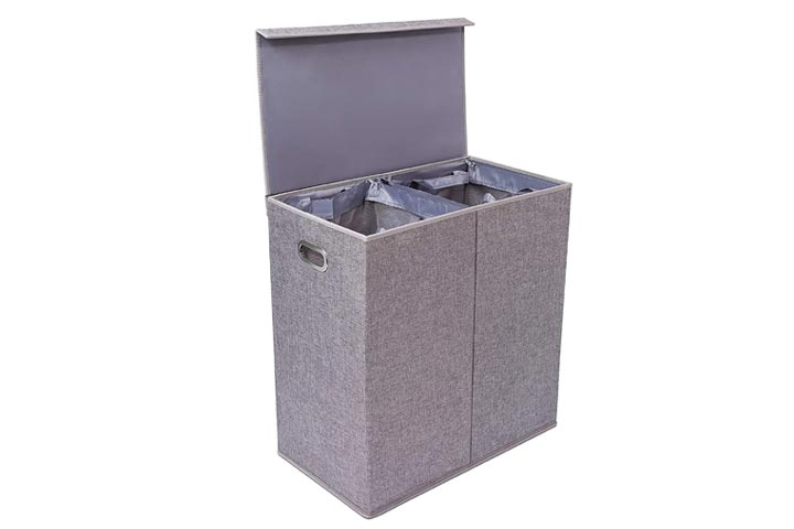 BirdRock Double Laundry Hamper with Lid and Removable Liners