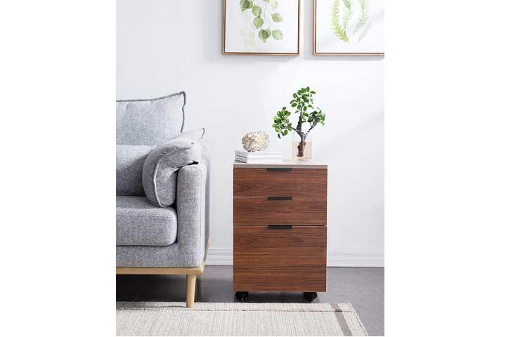 JJS 3 Drawer Rolling Wood File Cabinet