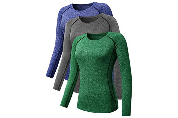 Neleus Women's Dry Fit Athletic Compression Long-Sleeve T-Shirt