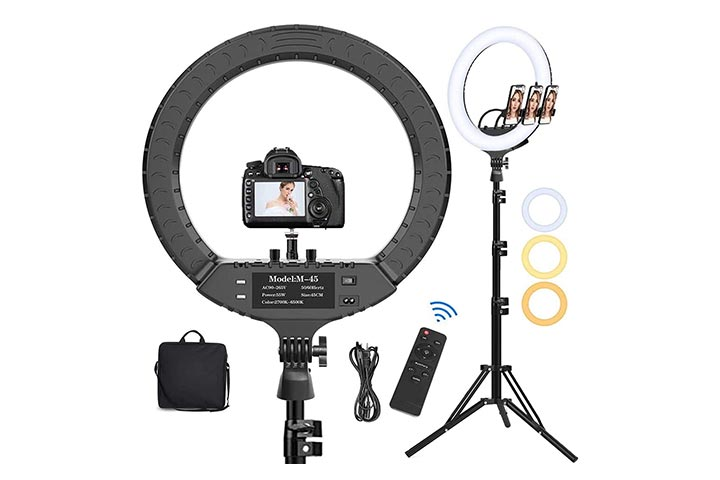 Hatynud 18 LED Ring Light with Tripod Stand Phone Holder