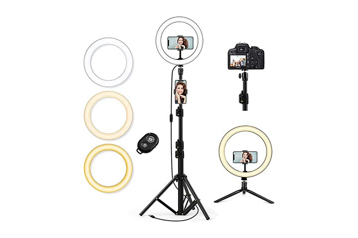 QI-EU 10.2 Selfie Ring Light With Tripod Stand Cell Phone Holder