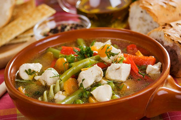 Spiced chicken and veggie soup