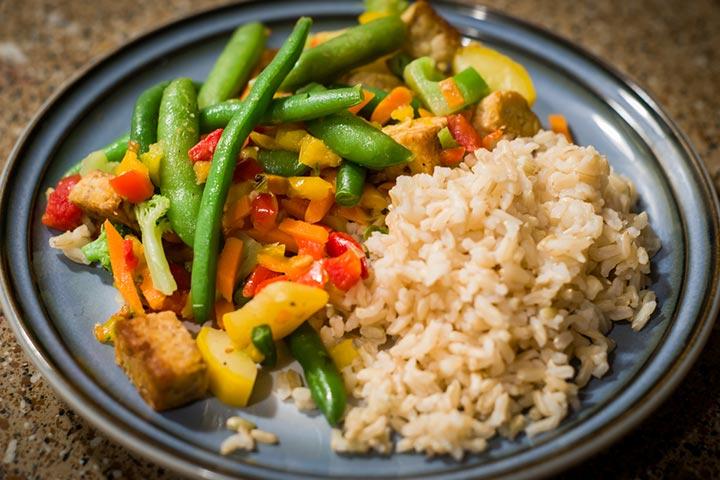 Tempeh and vegetable stir fry