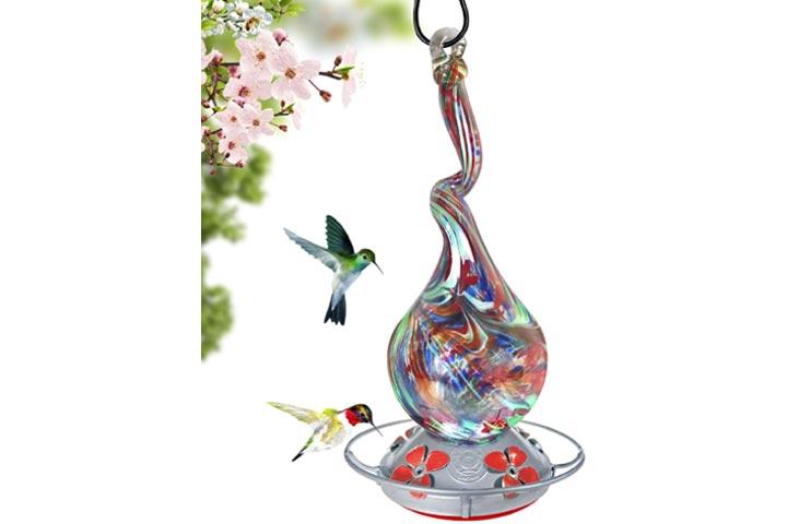 Grateful Gnome Glass Hummingbird Feeder