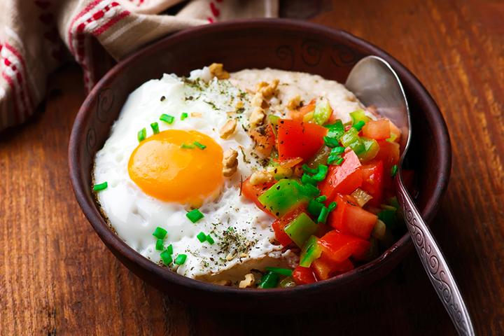 Savory cheddar oatmeal bowls